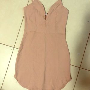 Stretchy nude club dress- boning on chest/stomach